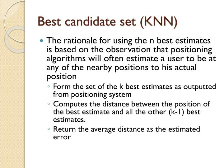 Best candidate set (KNN)