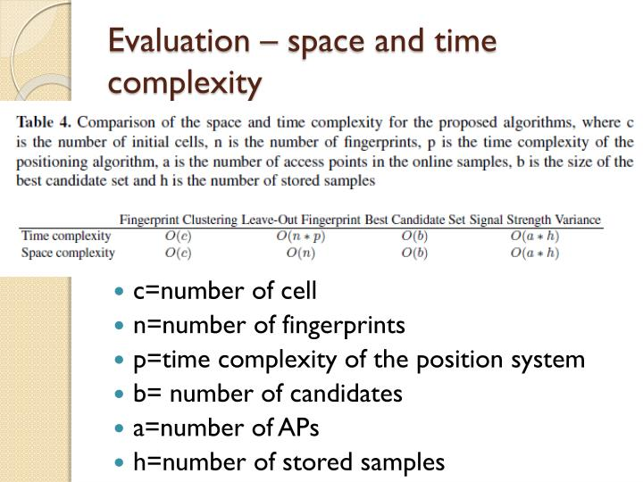 Evaluation – space and time complexity