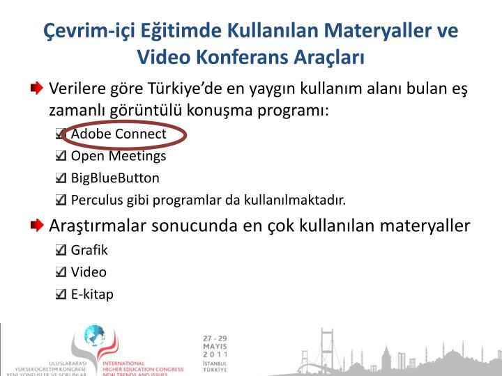 Çevrim-içi Eğitimde Kullanılan Materyaller ve Video Konferans Araçları