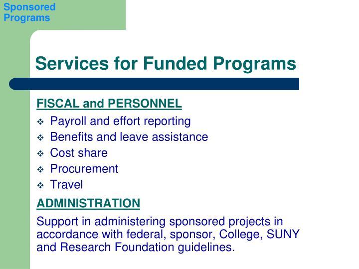 Sponsored Programs