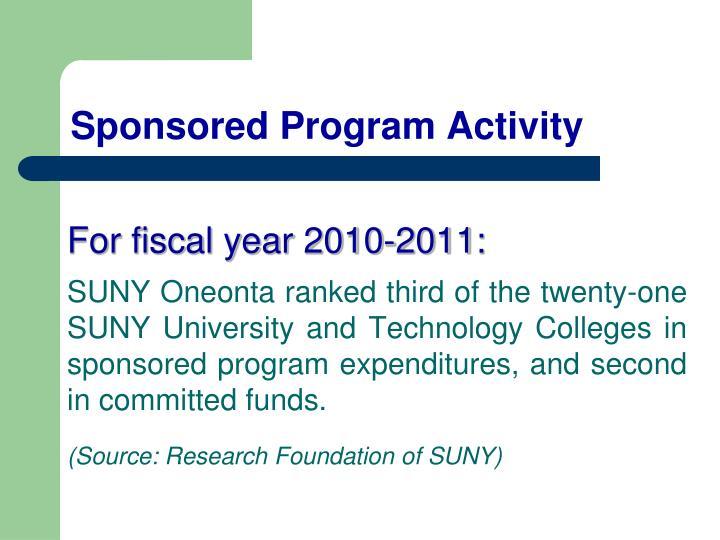 Sponsored Program Activity