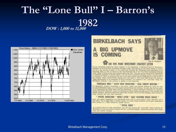 """The """"Lone Bull"""" I – Barron's 1982"""