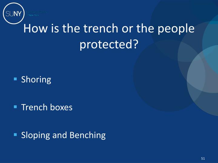 How is the trench or the people protected?