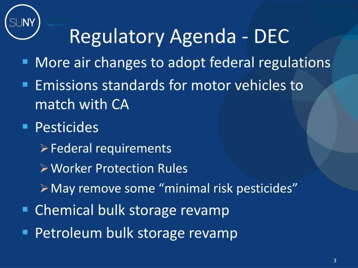 Regulatory Agenda - DEC