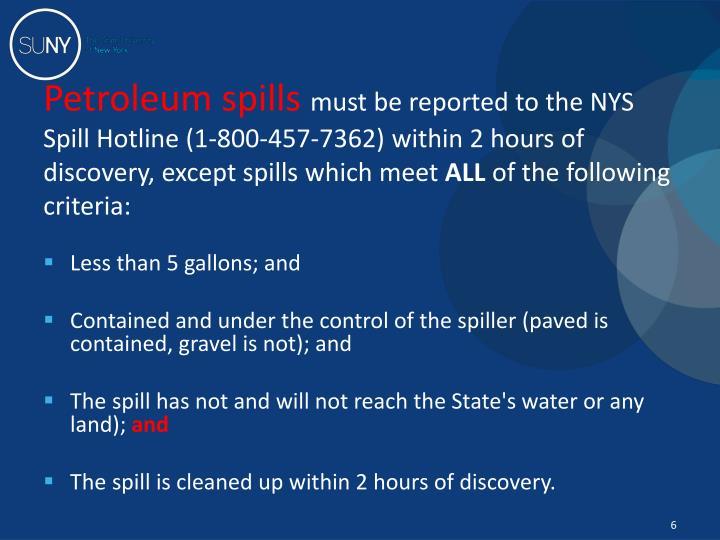 Petroleum spills
