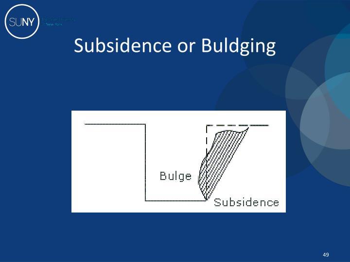 Subsidence or Buldging