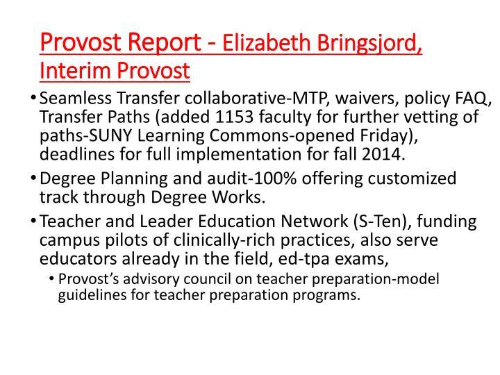 Provost Report -