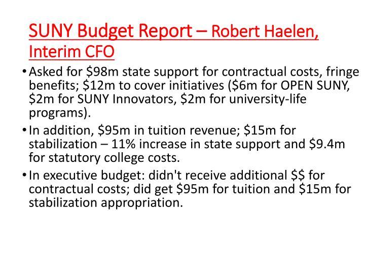 SUNY Budget Report –