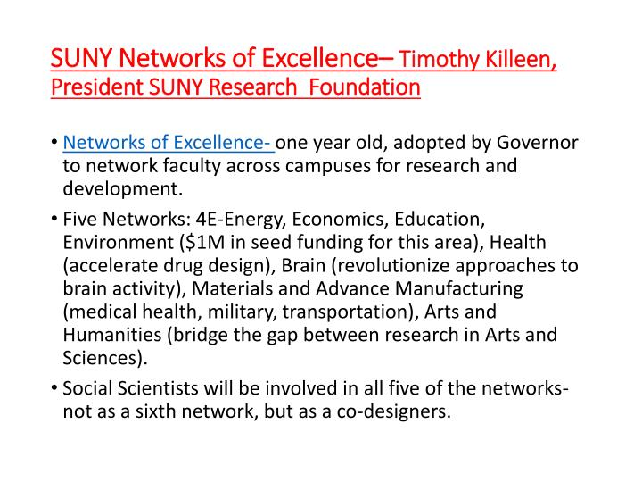 SUNY Networks of Excellence–