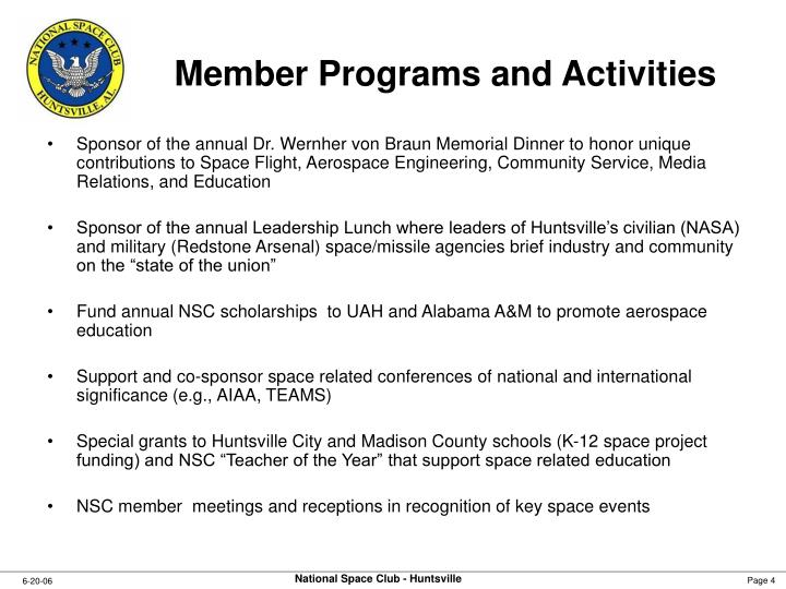 Member Programs and Activities
