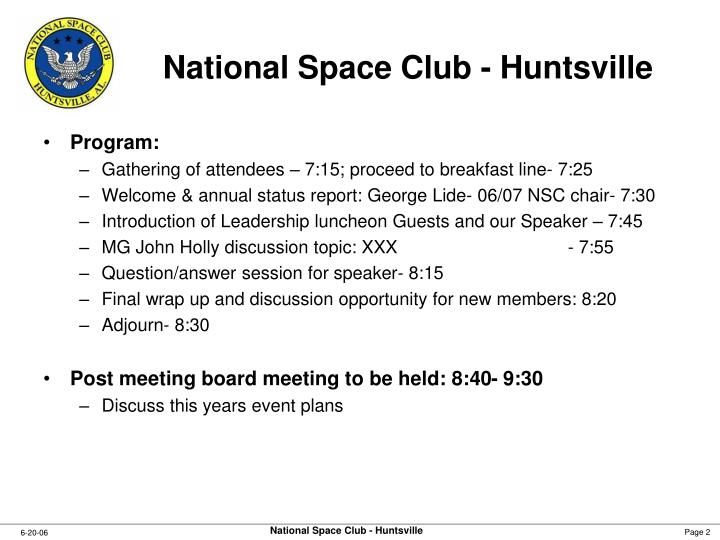 National space club huntsville