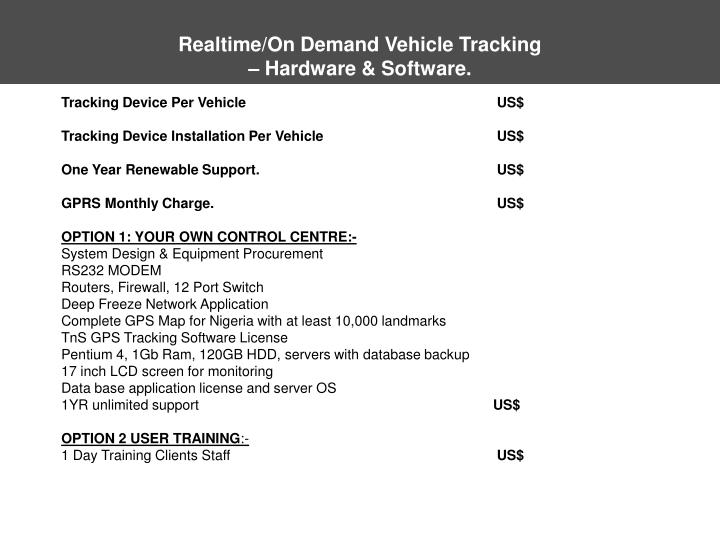 Realtime/On Demand Vehicle Tracking