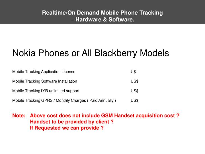 Realtime/On Demand Mobile Phone Tracking