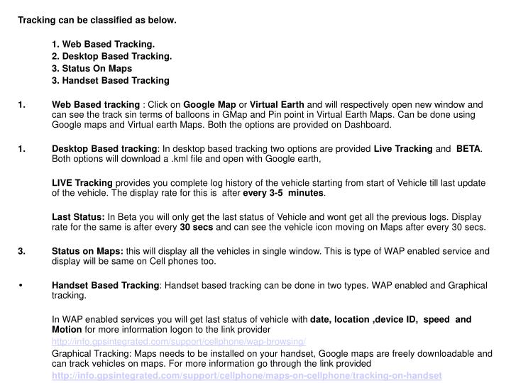 Tracking can be classified as below.