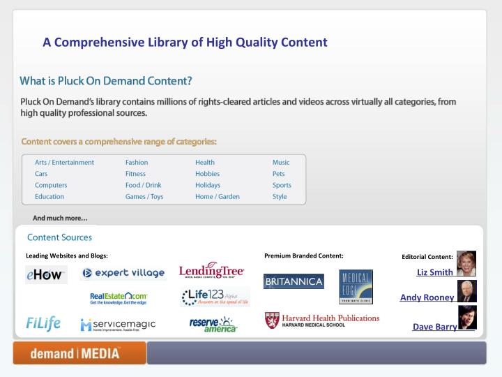 A Comprehensive Library of High Quality Content