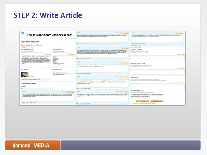 STEP 2: Write Article