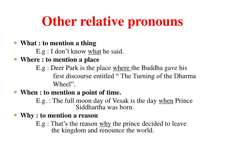 Other relative pronouns