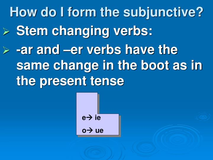 How do I form the subjunctive?