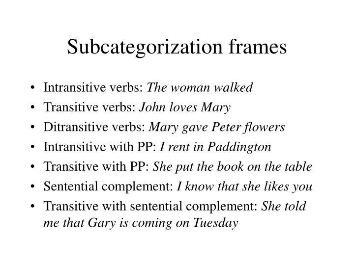 Subcategorization frames