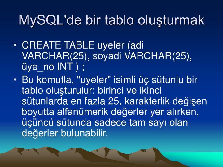 MySQL'de bir tablo oluşturmak