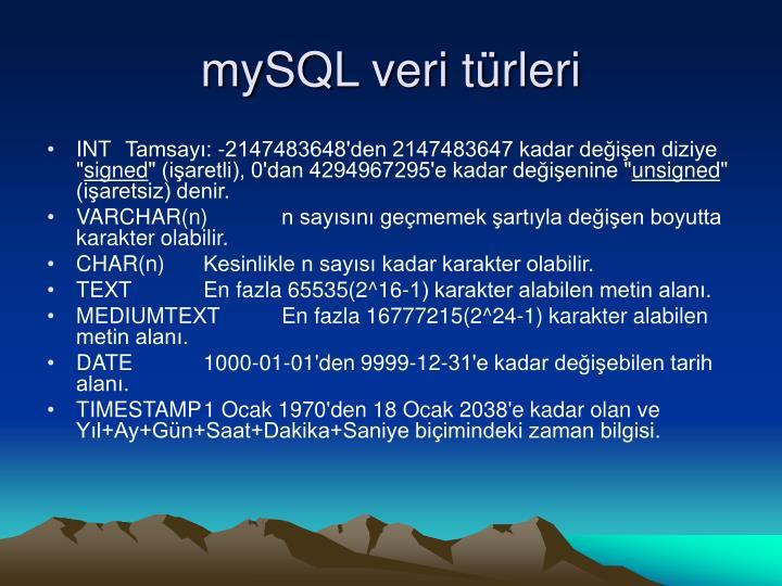 mySQL veri türleri