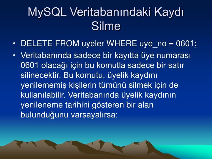 MySQL Veritabanındaki Kaydı Silme