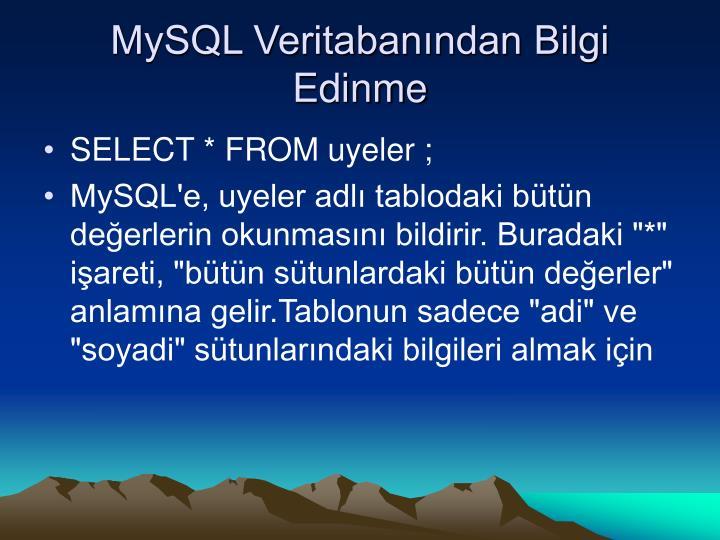 MySQL Veritabanından Bilgi Edinme