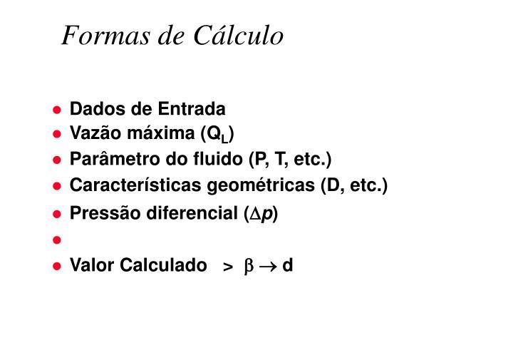 Formas de Cálculo