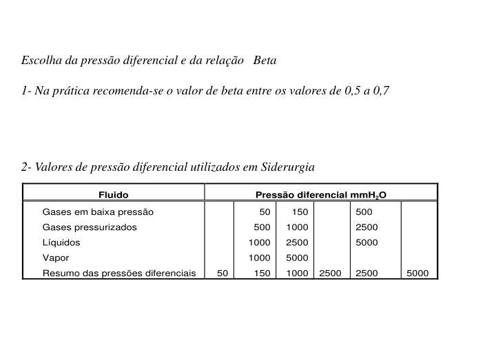 Escolha da pressão diferencial e da relação   Beta