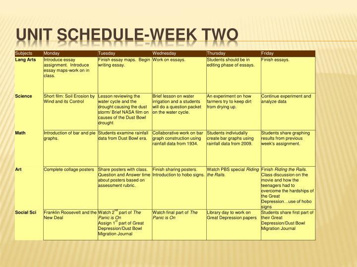 Unit schedule-week two