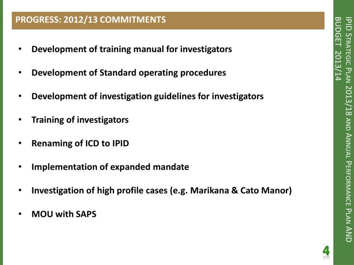 PROGRESS: 2012/13 COMMITMENTS