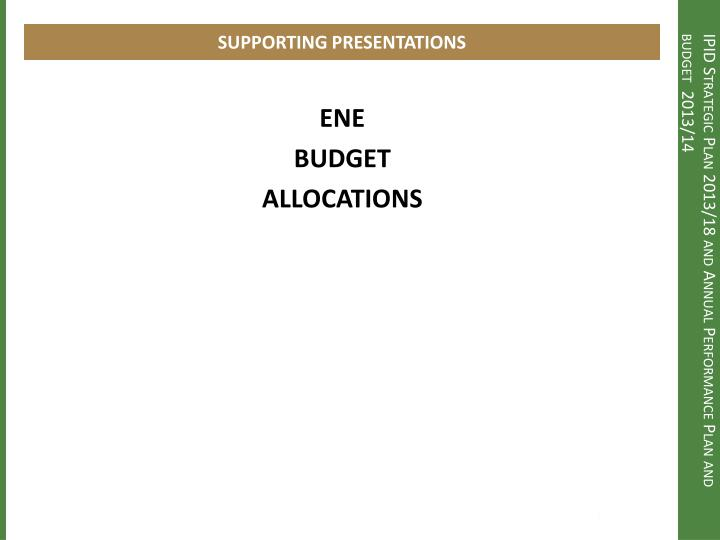 SUPPORTING PRESENTATIONS