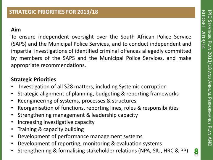 STRATEGIC PRIORITIES FOR 2013/18