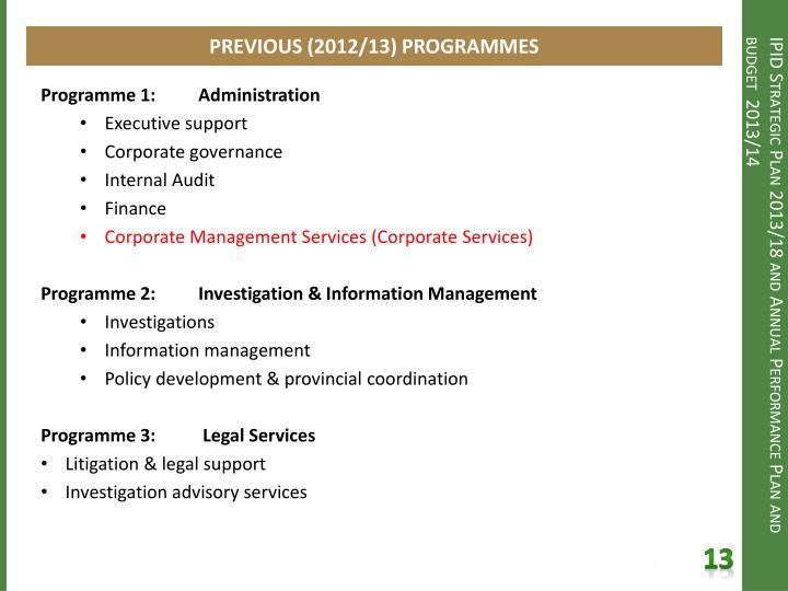 PREVIOUS (2012/13) PROGRAMMES