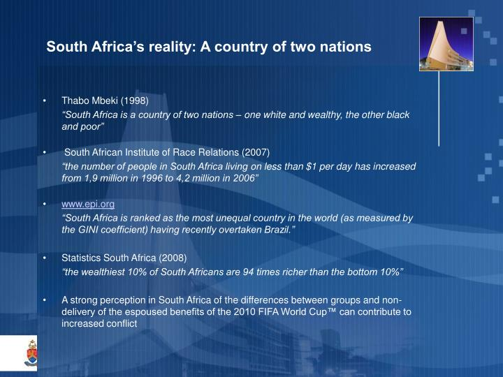 South Africa's reality: A country of two nations