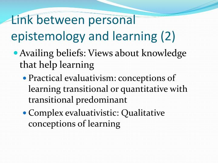 Link between personal epistemology and learning (2)