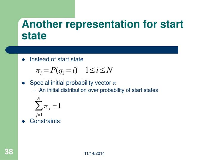 Another representation for start state
