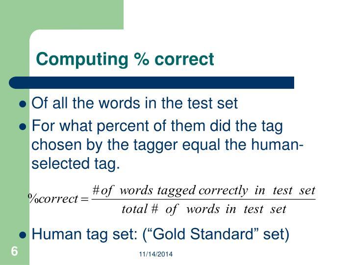 Computing % correct