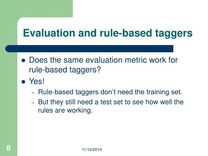 Evaluation and rule-based taggers