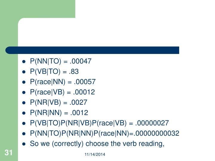 P(NN|TO) = .00047