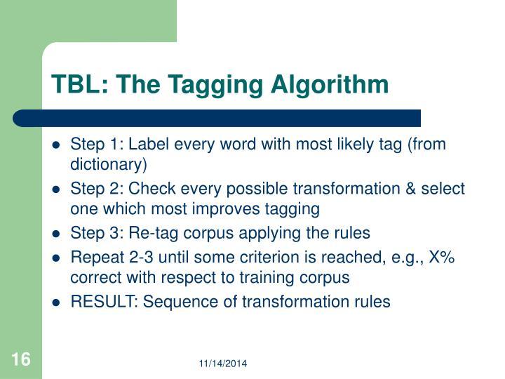 TBL: The Tagging Algorithm