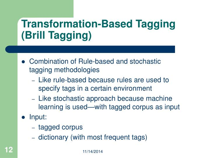 Transformation-Based Tagging (Brill Tagging)