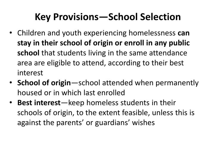 Key Provisions—School Selection