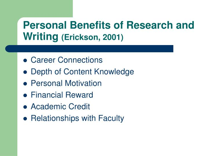 Personal Benefits of Research and Writing