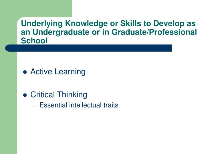 Underlying Knowledge or Skills to Develop as an Undergraduate or in Graduate/Professional School
