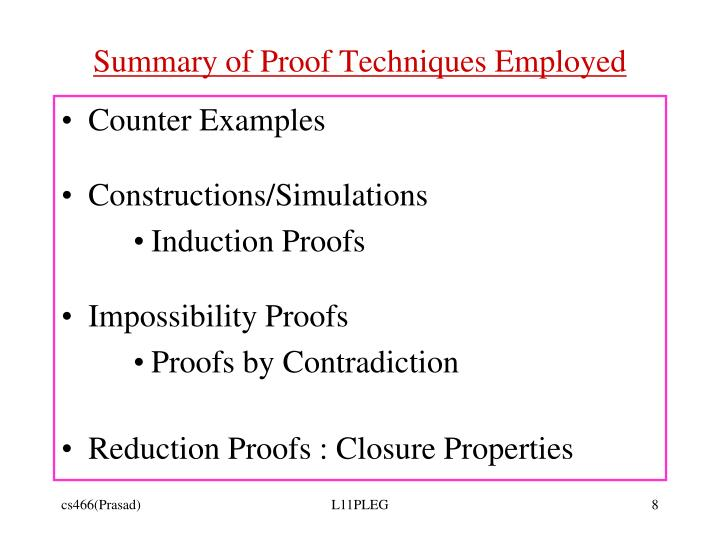 Summary of Proof Techniques Employed