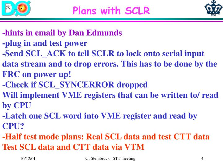 Plans with SCLR