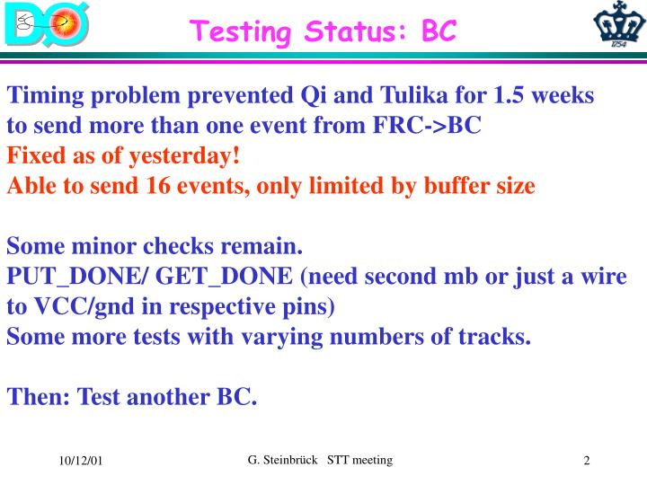 Testing Status: BC