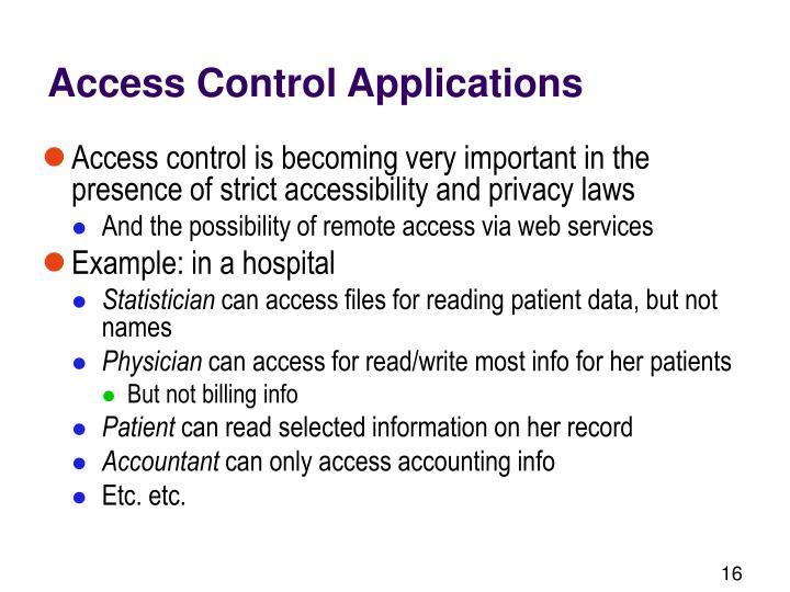 Access Control Applications