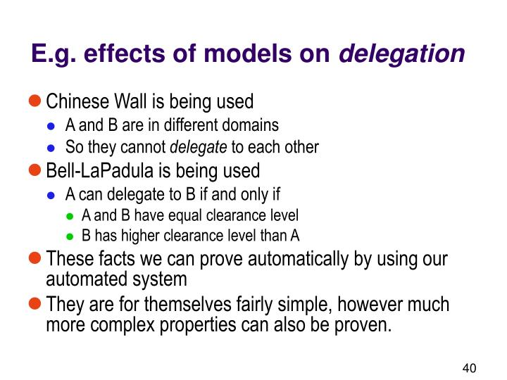 E.g. effects of models on